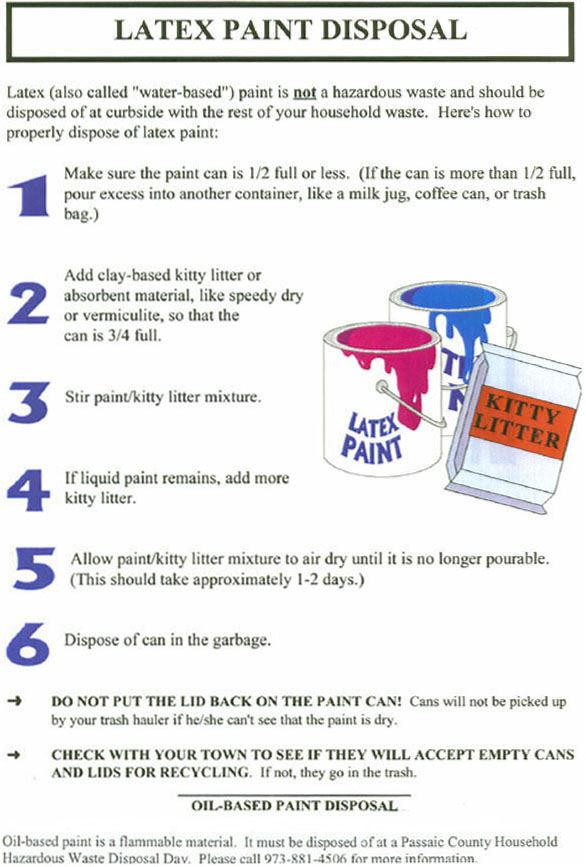 Make sure can is half full or less, add clay based kitty litter or other absorbent material and stir